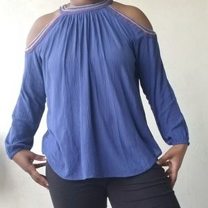 Sirens, Blue Cut Out Shoulder Top
